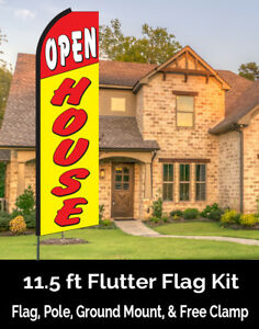 Open House red yellow Flutter Feather Banner Flag Kit flag Pole