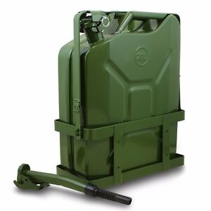Jerry Gas Can Fuel Tank W Holder Steel 5 Gallon 20l Nato Style Military Green