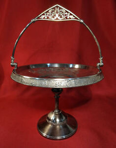 Rogers Smith Co Silver Plated Brides Basket Tiger Serpent Animal Nude Hunters
