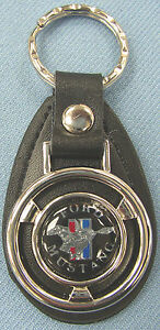 Black Mustang Mini Steering Wheel Black Leather Keyring 1968 1969 1970 1971