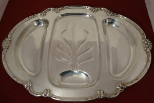 1847 Rogers Bros Remembrance Int L Silver Plated Meat Vegetable 3 Part Platter