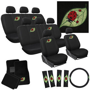 29pc Complete Ladybug Cute Red Leaf Seat Cover Truck Set Bench Floor Mats Adm1