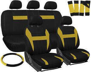 Car Seat Covers For Ford Mustang Yellow Black Steering Wheel Belt Pad Head Rests