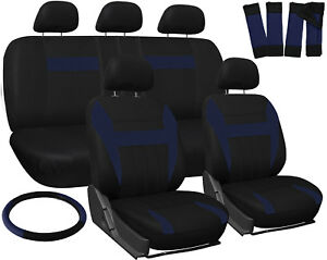 Truck Seat Covers For Dodge Ram Blue Black W Steering Wheel Belt Pad Head Rests