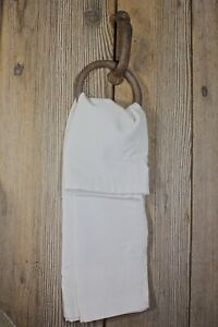 Hitching Ring With Linen Bath Hand Towel Old Vintage Rustic Primitive Horse Tie