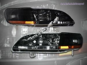 Fit For 98 02 Honda Accord Headlights Jdm Black 1999 2000 2001