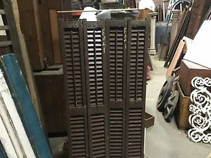 Pair Double Wide Victorian Louvered House Window Brown Shutters 61 High X 15 W
