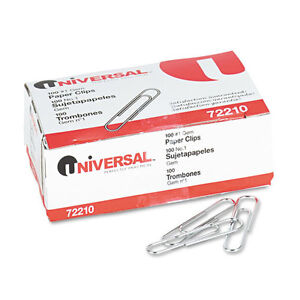 12 000 Universal Paper Clips Smooth Finish No 1 Silver Unv72210