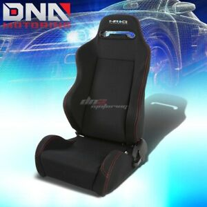 Nrg Type r Black stitch Fully Reclinable Sports Deep Racing Seat slider Left
