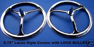 5 75 Lucas Style Headlight Covers W Long Bullets Pair