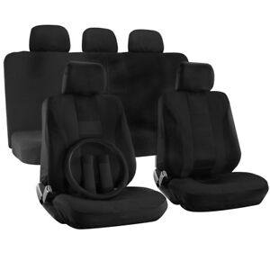 Truck Seat Cover For Dodge Ram Black W Steering Wheel Belt Pad Head Rest H Style