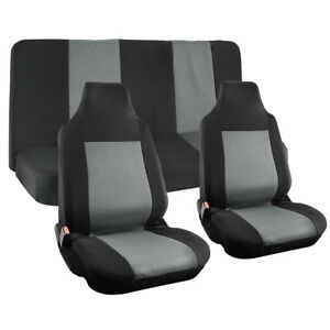 Truck Seat Cover For Dodge Ram Gray Mesh Fit Bench Bucket Integrated Head Rests