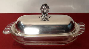 1847 Rogers Bros Eternally Yours Silver Plate Butter Dish Duncan Miller Teardrop