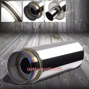 2x 2 5 Inlet 4 5 Burnt Tip silencer Universal Round Steel Body Exhaust Muffler