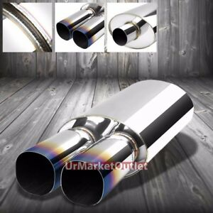 Ss 2 50 Inlet 3 00 Dual Burnt Square Tip Stainless T304 Oval Exhaust Muffler