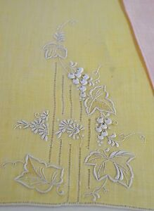 3 Glorious Hand Embriodered Linen Fingertip Towels In Pink Yellow
