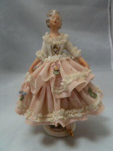 Vintage Germany Porcelain Dresden Lace Woman With Pink White Dress Figurine