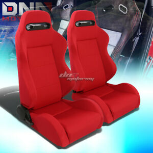 X2 Type r Style Red Cloth Fully Reclinable Bucket Racing Seats slider Rail Set