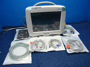 Philips Mp50 Intellivue Color Patient Monitor M3001a Ekg Bp Spo2 Cables Tested