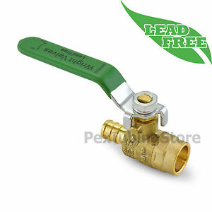 1 2 Pex crimp X 1 2 Sweat Lead free Brass Shut off Ball Valve Full Port