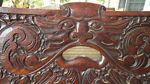Northwind Faces Set 4 Antique Tiger Quartersawn Oak Chairs Rare Very Unusual