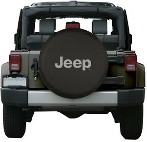 Black Jeep Logo Spare Tire Cover Wheel R17 32 Accessory New Free Shipping Usa