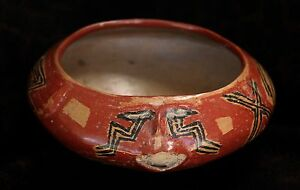 Ancient Chupicuaro Guanajuato Pre Columbian Polychrome Face Bowl 8 1 2 D