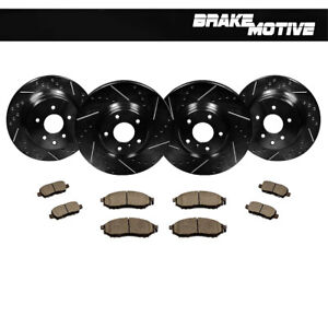 F R Black Drilled Slotted Brake Rotors Ceramic Pads Kit For Infiniti Nissan