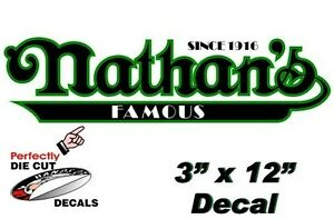2 Nathan s Famous Hot Dog 3 x 12 Decals For Hot Dog Cart Or Concession Stand