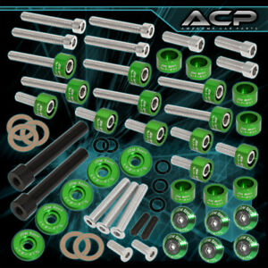D series Acura Cam Cap cup header m8 6pc Fender valve Cover Washer bolt Green