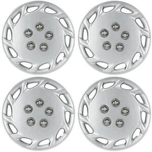 4 Pc Set Of 14 Inch Silver Hub Caps Full Lug Skin Rim Cover For Oem Steel Wheel