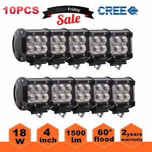 10pcs 4inch 18w Cree Flood Led Work Light Bar Offroad Boat Car Truck Ford Suv
