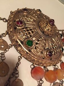Antique Greek Gilded Belt W Pendant Ahati Stones Over 100 Years Old