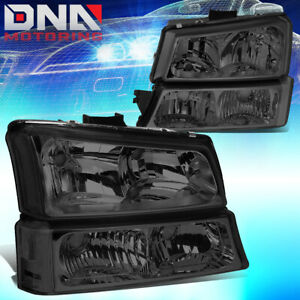 For Chevy Silverado 2003 2006 Euro Smoked Housing Clear Corner bumper Headlights