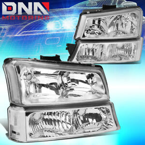 For 2003 2006 Chevy Silverado Avalanche Chrome Bumper Headlights Clear Corner