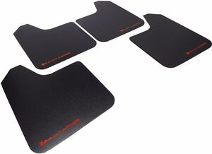 Rally Armor Basic Universal Mud Flaps Set Of 4 No Hw Black W Red Mf12 Bas Rd