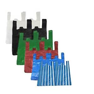 All Sizes Colours Strong Plastic Vest Carrier Bags For Supermarkets Stalls New