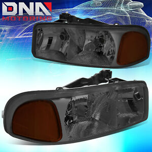 For 99 07 Gmc Sierra Yukon Replacement Smoked Housing Amber Side Headlight Lamps