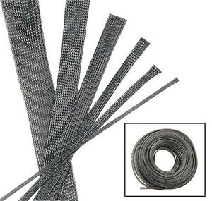 Black Carbon Wire Hose Sleeve Sleeving Kit Braided Loom Protector Stereo Heat