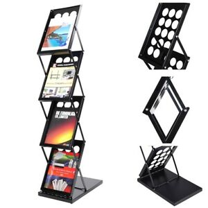 4 Pocket Magazine Display Holder Literature Rack Pop up Folding Brochure Rack