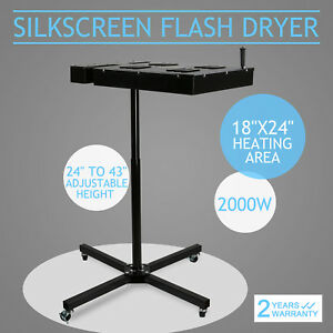 18 X 24 Flash Dryer Silkscreen T shirt Printing Curing Adjustable Height