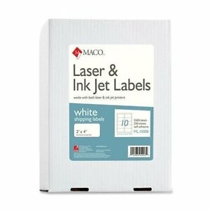 Macml1000b Laser Shipping Labels 2x4 2500 bx White
