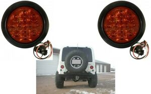 2 4 Round Led Stop Turn Tail Light Kit With Red Lens New Free Shipping