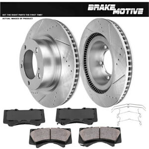 Front Drill And Slot Brake Rotors Ceramic Pads For Toyota Tundra Land Cruiser