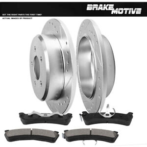 Rear Drill Slot Brake Rotors Metallic Pads For Mountaineer Ford Explorer