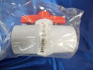 Red Flag Pvc Ball Valve Inline Glue Fitting 2 Inch 150 Psi 73f Sch40