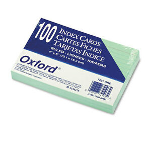 oxford Ruled Index Cards 4 X 6 Green 100 pack