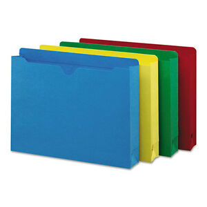 Smead Colored File Jackets W reinforced 2 ply Tab Letter Assorted Colors 50 box