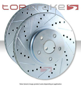 Front Topbrakes Performance Cross Drilled Slotted Brake Disc Rotors Tb51042 121