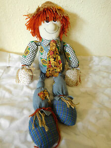 Vtg Country Cottage Collectible Rag Doll Scarecrow Primitive Cloth 16 Fs